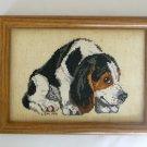 Basset hound dog black white brown completed cross stitch