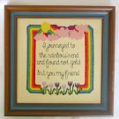 Rainbow end journey not gold but friend completed cross stitch