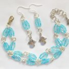 Angel Baby Blue Luster Hex Glass Bead Bracelet and Charm Earrings