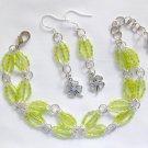 Clover Lime Green Trans Luster Hex Seed Bead Bracelet & Charm Earrings