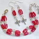 Dragonfly Red Trans Luster Hex Glass Bead Bracelet & Charm Earrings