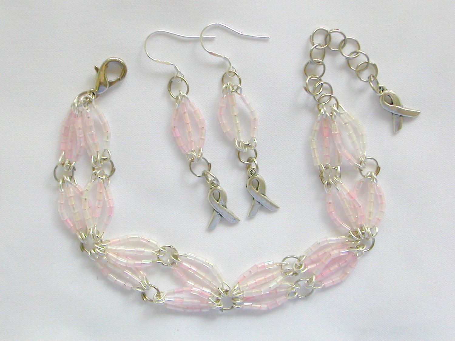Ribbon Awareness Light Pink Hex Glass Bead Bracelet & Charm Earrings
