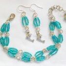 Dolphin Aqua Blue Luster Hex Glass Bead Bracelet and Charm Earrings