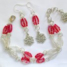 Snowflake Red Clear Hex Glass Bead Bracelet and Charm Earrings
