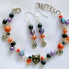 Czech Cat Bead Moon Charm Orange Black Purple Bracelet