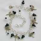 Dragonfly Black Clear Crystal Glass Bead Charm Anklet Bracelet