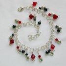 Ladybug Red Black Glass Bead Lucky Good Luck Anklet Bracelet