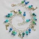 Dolphin Ocean Blue Aqua Faux Pearl Bead Charm Anklet Bracelet
