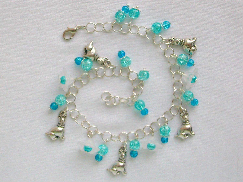Dog Bell Flower Aqua Blue Crackle Glass Bead Anklet Bracelet