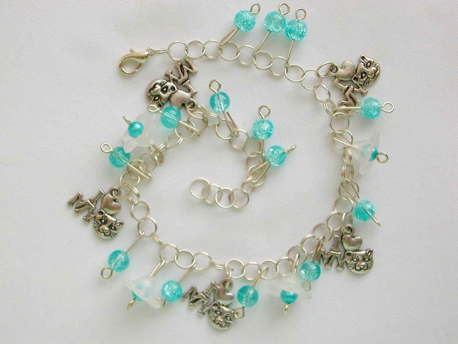 I love My Cat Bell Flower Aqua Blue Crackle Glass Bead Anklet Bracelet