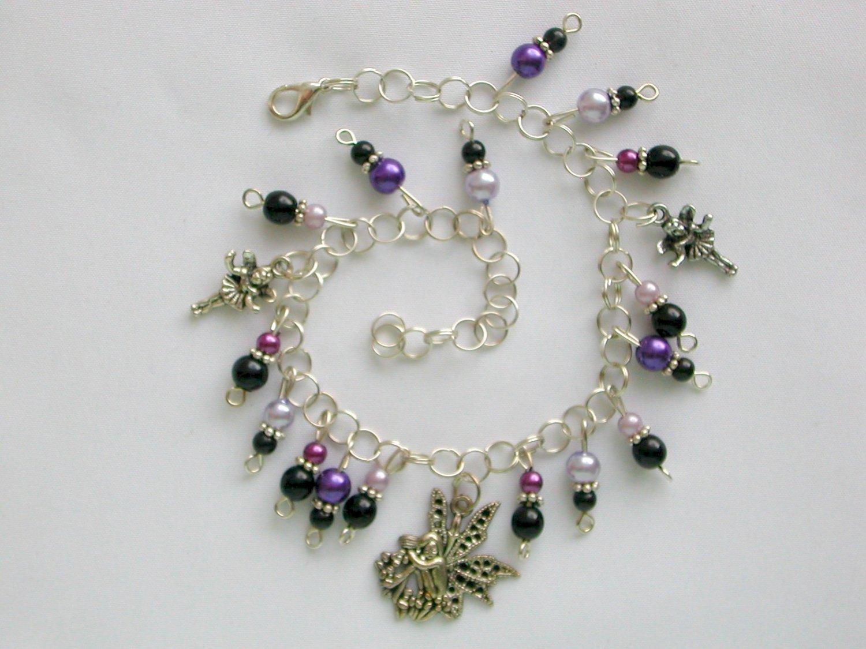Fairy Purple Black Pearl Bead Charm Anklet Bracelet