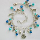 Fairy Princess Star Moon Aqua Blue Bead Charm Anklet Bracelet