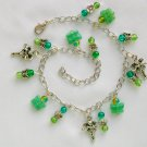 Fairy and Butterfly Green Crackle Czech Glass Bead Charm Anklet Bracelet
