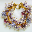 Crystal Butterfly Purple Glass Bead Cha Cha Charm Bracelet