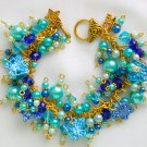 Butterfly Blue Aqua Gold Crystal Bead Cha Cha Charm Bracelet