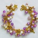 Fairy Czech Butterfly Purple Gold Tone Pearl Bead Charm Bracelet