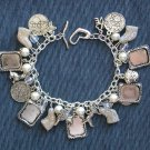 Dog Lover Czech Glass Bead Photo Frame Charm Bracelet