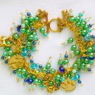 Cat and Paw Print Green Blue Gold Tone Cha Cha Charm Bracelet