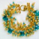 Aqua Blue Crystal Butterfly Gold Flower Cha Cha Bracelet
