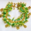 Four Leaf Clover Green Gold Tone Lucky Cha Cha Charm Bracelet