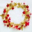 Fairy Red Pink Flower Czech Butterfly Gold Charm Bracelet