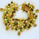 Four Leaf Clover Light Brown Green Charm Bracelet