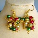 Christmas Red Green Cha Cha Bead Cluster Earrings