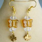 Czech Yellow Butterfly Bead Four Leaf Clover Clear Crystal Charm Earrings