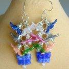 Flower Pink White Blue Czech Butterfly Bead Cluster Earrings