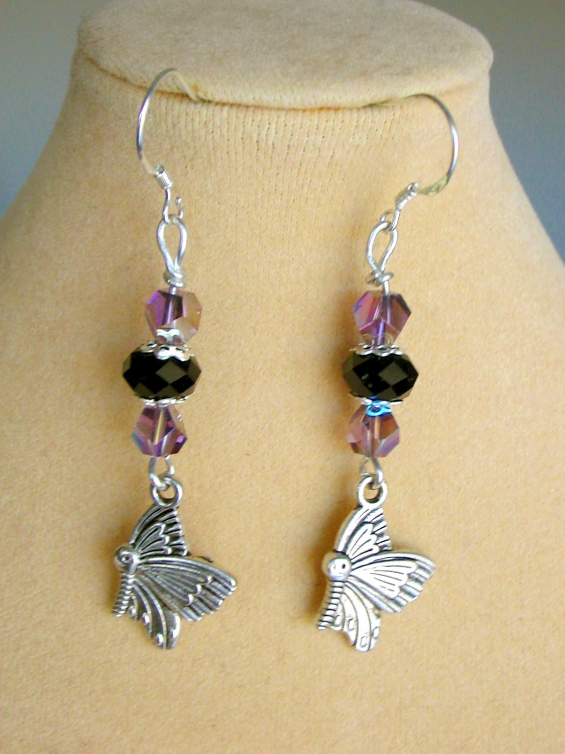 Butterfly in Flight Purple AB Iridescent Crystal Bead Charm Earrings