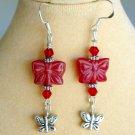 Red Pressed Czech Glass Butterfly Bead Silver Charm Earrings