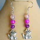 Cat Purple and Pink Crackle Glass Bead Ombre Charm Earrings