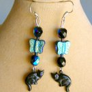 Black Cat AB Iridescent Aqua Czech Glass Butterfly Bead Earrings