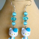 Hello Kitty Cat Aqua Blue Crystal Bead Charm Earrings