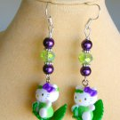 Hello Kitty Cat Green Leaf Purple Lime Bead Earrings