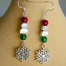 Christmas Cat Snowflake Charm Red and Green Earrings