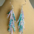 Luster Glass Hex Bugle Bead Teal Purple Dangle Earrings