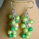 Lime and Light Green Faceted Bead Cha Cha Earrings