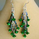 Green Rose Flower and Iridescent Bugle Bead Dangle Earrings