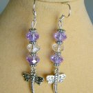 Dragonfly Light Purple Crystal Glass Rondelle Bead Charm Earrings