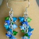 Bell Flower Cha Cha Cluster Blue Aqua Green Earrings