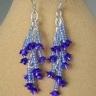 Purple Rose Flower and Blue Seed Bead Dangle Earrings