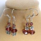 Mauve Purple Crystal Bead Butterfly Flower Earrings 2 Pair