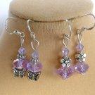 Light Purple Crystal Bead Butterfly Flower Earrings 2 Pair