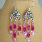 Light Pink Heart Fuschia Crystal Bead Chandelier Earrings