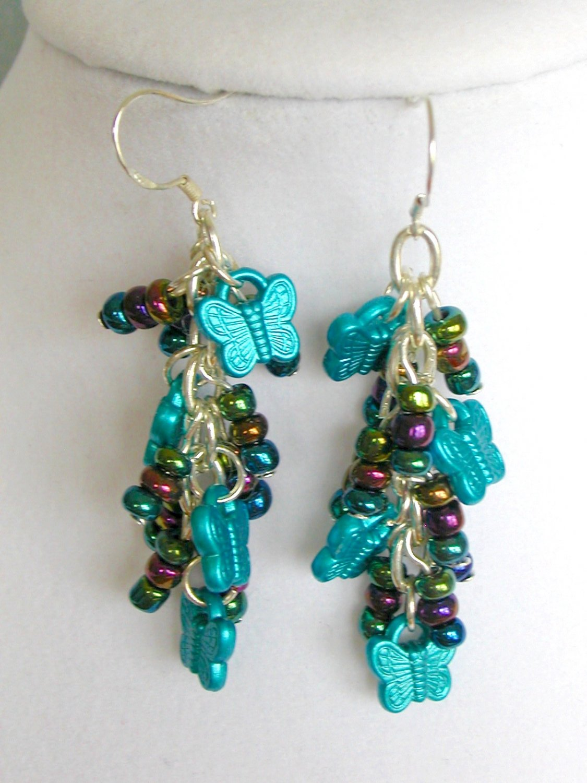 Butterfly Aqua Black Iridescent Bead Dangle Earrings