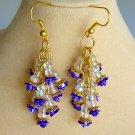 Purple Flower Rose Iridescent Bead Dangle Cluster Earrings