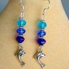 Dolphin Blue and Aqua Crystal Bead Charm Ombre Earrings