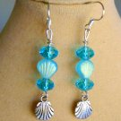 Czech Sea Shell Bead Light Aqua AB Crystal Charm Earrings