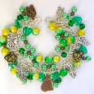 Czech Cat and Angel Green Yellow Charm Cha Cha Bracelet